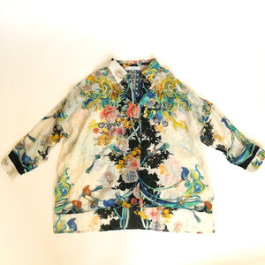Johnny Was S Silk Button Blouse Dragon Floral Top